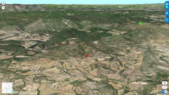 Localisation du Puech de la Suque (astérisque vert) et de la carrière de Coumiac (astérisque rouge) sur une vue aérienne