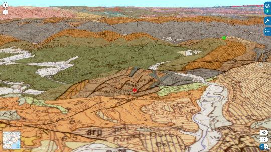 Localisation du Puech de la Suque (astérisque vert) et de la carrière de Coumiac (astérisque rouge) sur carte géologique