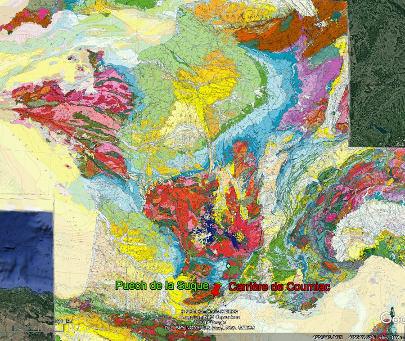 Position du versant Sud de la Montagne Noire sur la carte géologique de France au 1/1000000