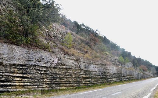 Vue d'ensemble d'un bord de route près de Saumane de Vaucluse, bord de route montrant de très belles stratifications obliques