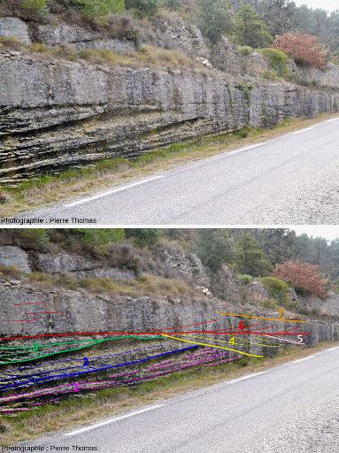 Vue de détail de stratifications obliques d'un bord de route près de Saumane de Vaucluse avec vue interprétée