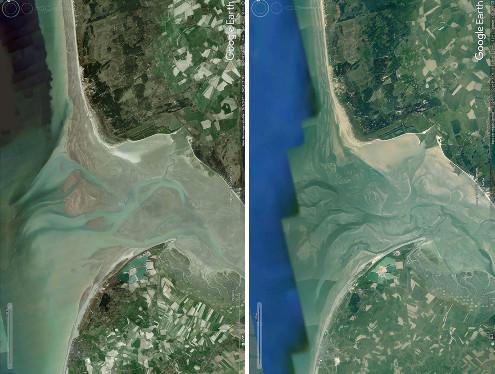 Vues aériennes de la Baie de Somme prises à 10 ans d'intervalle, 2007 pour l'image de droite, 2017 pour l'image de gauche