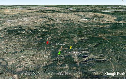 Localisation des trois sites présentés dans cet article, sites situés à moins de 2km les uns des autres près de Fontaine de Vaucluse, haut-lieu touristique du département