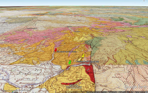 Contexte géologique local des affleurements de Burdigalien (orange et jaune) de la région de Fontaine de Vaucluse