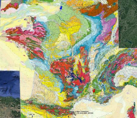 Localisation de Fontaine de Vaucluse (punaise rouge) et de la Baie de Somme (punaise bleue) sur la carte géologique de France au 1/1000000