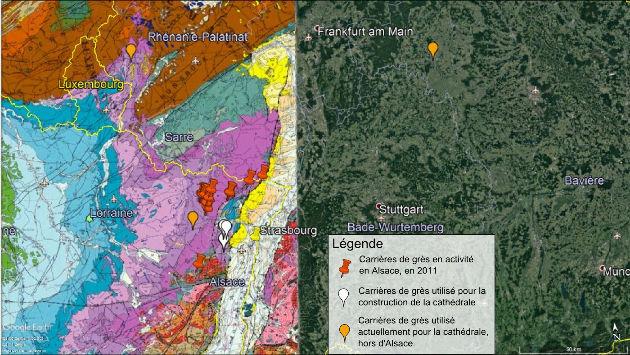 Emplacement de différentes carrières de grès autour de Strasbourg sur fond de carte géologique BRGM de la France au 1/106