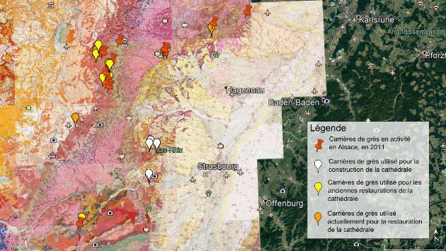 Emplacement des différentes carrières de grès en Alsace sur fond de feuilles géologiques BRGM au 1/50000
