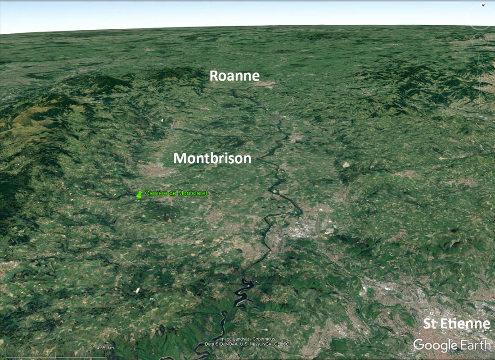 Vue aérienne du graben du Forez entre Roanne et Saint-Étienne