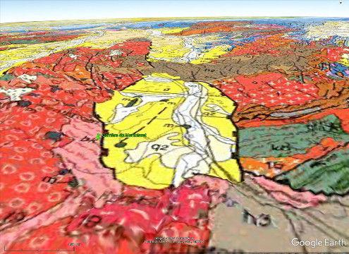 Vue sur fond géologique (au 1/106) du graben du Forez entre Roanne et Saint-Étienne