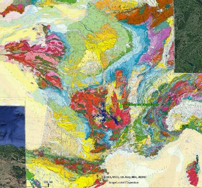Localisation de la carrière de Montclaret (Loire) sur la carte géologique de France au millionième