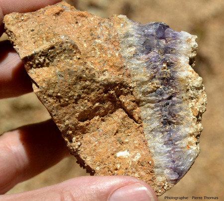 Gros plan sur un échantillon contenant un filonnet fait de quartz blanc laiteux sur ses bords et d'améthyste en son centre