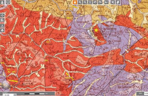 Extrait de la carte géologique au 1/50000 de Saint-Germain-Lembron aux environs de la maison de l'Améthyste (astérisque jaune)