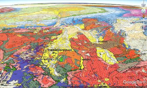 Localisation du contexte géologique des améthystes du Livradois (punaise verte) sur la carte géologique de France au 1/1000000