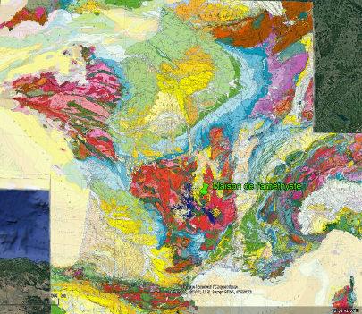 Localisation de la maison de l'Améthyste sur la carte géologique de France au millionième