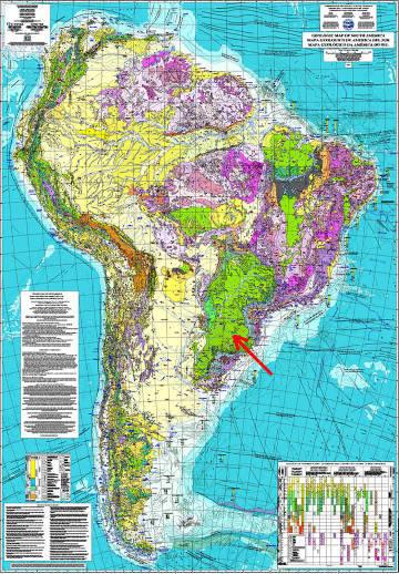 Carte géologique de l'Amérique du Sud