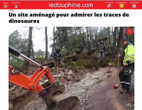 Extrait du Dauphiné Libéré (le journal local) publié le 6 avril 2019 et relatant le début des travaux d'aménagement du site à empreintes de dinosaures d'Ucel