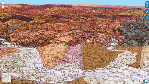 Localisation (flèche verte) de la dalle à empreintes de dinosaures d'Ucel sur les cartes géologiques au 1/50000 de Privas et d'Aubenas