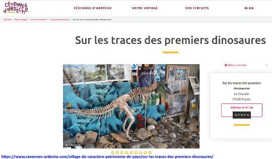 Capture d'écran d'une des pages web décrivant ce musée de Payzac (Ardèche)