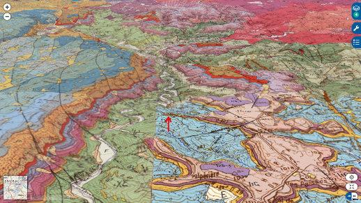 Localisation des empreintes de dinosaures (flèche rouge) de Saint-Laurent-de-Trèves (Lozère) sur les cartes géologiques au 1/50000 de Florac, Genolhac, Meyrueis et Saint André de Valborgne