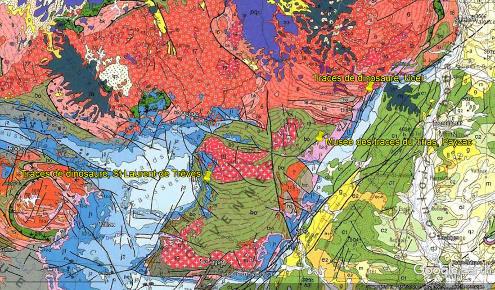 """Localisation sur un extrait de la carte géologique de France au 1/1000000 des sites """"aménagés"""" où l'on peut voir des empreintes de dinosaures dans le Sud-Est du Massif Central"""