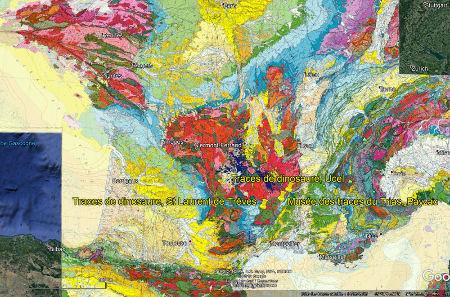 """Localisation sur la carte géologique de France au 1/1000000 des sites """"aménagés"""" où l'on peut voir des empreintes de dinosaures dans le Sud-Est du Massif Central"""
