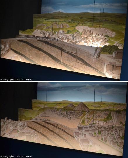 """Plans de coupes colorées montrant (un peu) le sous-sol et surtout l'évolution du """"paysage"""" de surface du secteur du Puits Couriot"""