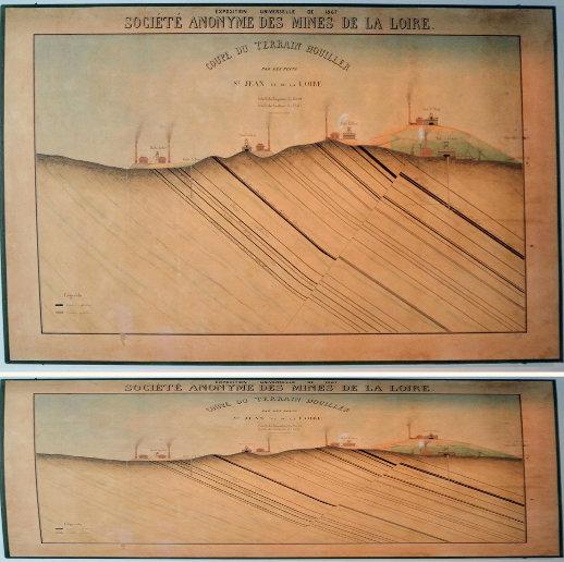 """Coupe d'un secteur des """"Mines de la Loire"""" réalisée pour l'Exposition universelle de 1867 (à Paris) et exposée dans une salle du Musée de la Mine de Saint-Étienne"""