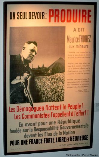 Affiche éditée par le Parti Communiste Français juste après la Seconde Guerre Mondiale s'adressant aux mineurs