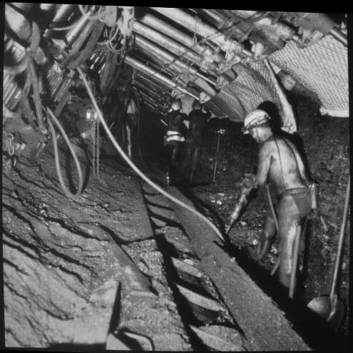 """Photo d'un mineur abattant du charbon """"à l'abri"""" d'un soutènement marchant"""