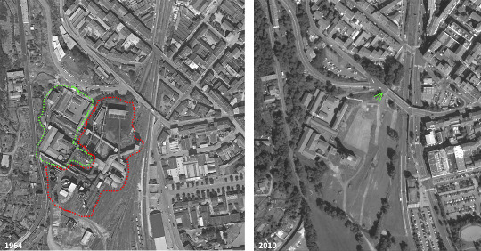 Juxtaposition de deux photographies aériennes de l'IGN (1964-2010) du site du Parc-Musée de la Mine de Saint-Étienne