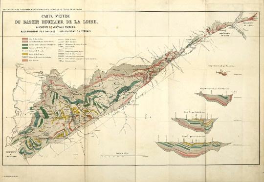 Carte et coupes géologiques du bassin de Saint-Étienne datant de 1877 (issues des travaux F.-Cyrille Grand'Eury?)