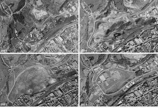 Évolution du secteur du puits Pigeot, Saint-Étienne, entre 1983 (l'année de la fermeture) et 2013