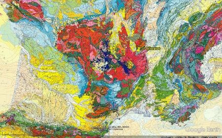 Localisation du bassin carbonifère de Saint-Étienne sur fond de carte géologique de la France au millionième