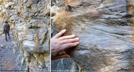 Vues d'ensemble (à gauche) et de détail (à droite) de la structure interne des grès