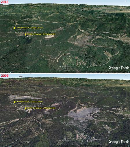 Vues aériennes de 2009 et 2018 localisant la forêt fossile de Champclauson et le bâtiment abritant le musée et d'où partent les petits trains conduisant au site fossilifère