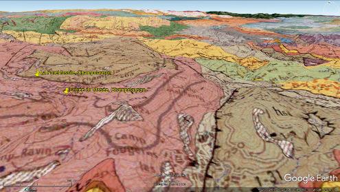 Carte géologique du secteur de Champclauson, avec la même projection que la figure précédente et localisant la forêt fossile de Champclauson