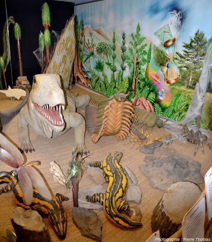 Reconstitution d'animaux et de végétaux du Paléozoïque supérieur: du Permien pour le Dimétrodon (rappelons que le Dimétrodon n'est pas un dinosaure, bien qu'il soit souvent en bonne place dans les livres pour enfants consacrés aux dinosaures), et du Carbonifère pour tous les autres animaux et végétaux