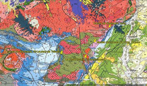 Localisation de la forêt fossile de Champclauson dans le bassin carbonifère d'Alès
