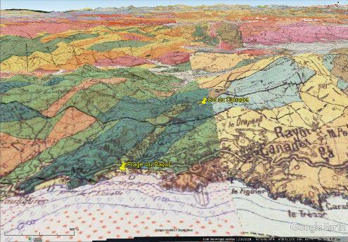 Localisation sur fond de carte géologique de la plage du Rayol et du col du Canadel sur la côte des Maures, commune de Rayol-Canadel-sur Mer