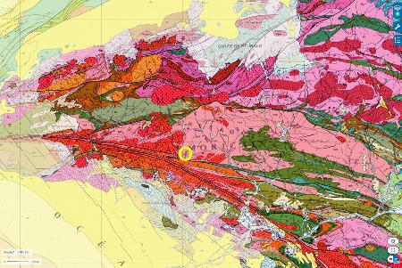 Localisation de la vallée de l'Ével dans le Morbilhan, un des hauts lieux des staurotides bretonnes