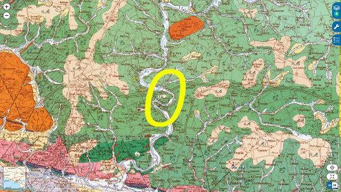 Extrait de carte géologique d'un secteur de la vallée de l'Ével riche en staurotides
