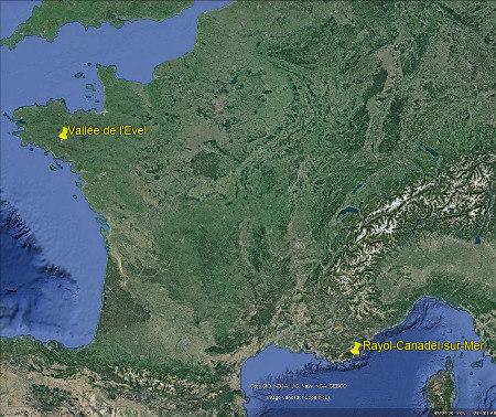 Localisation du Rayol-Canadel-sur-Mer et de la vallée de l'Ével