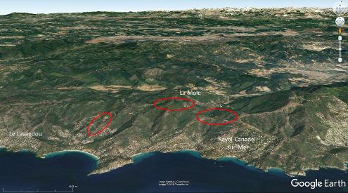 Localisation approximative, sur vue aérienne, des sites où des travaux, des réfections de chemins… ont permis de récolter les échantillons présentés ici