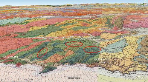 Localisation approximative, sur fond géologique, des sites où des travaux, des réfections de chemins… ont permis de récolter les échantillons présentés ici