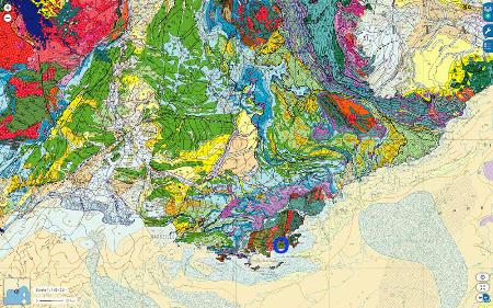 Localisation du secteur des communes du Lavandou, du Rayol-Canadel-sur-Mer et de La Mole dans le Massif des Maures (Var) sur fond de carte géologique de la France au millionième