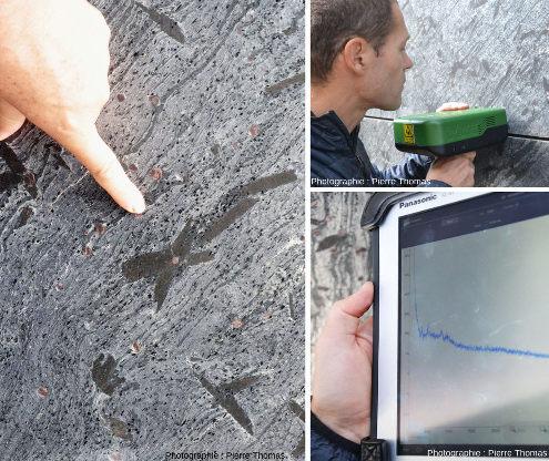 Détermination in situ de la nature de minéraux sur des dalles de pierres polies revêtant les façades de la Maison des Avocats, Lyon (Rhône)