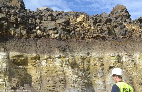 Contact entre une coulée de basalte et la couche de diatomite exploitée