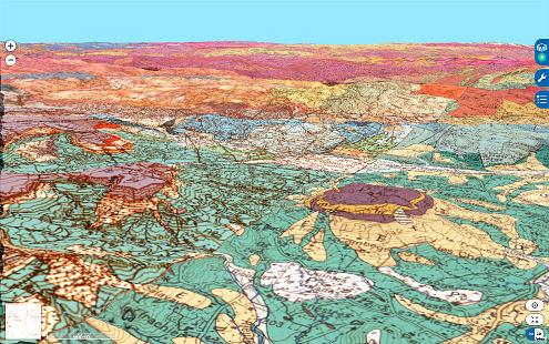 """Vue aérienne """"géologique"""" montrant la carrière de Saint-Bauzile au sommet de la montagne d'Andance (au centre droit) et, à gauche, le rebord du plateau du Coiron"""