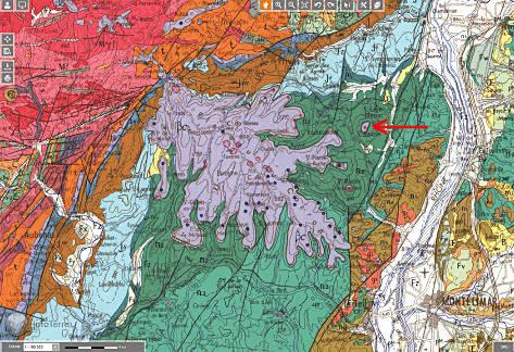 Carte géologique au 1/250000 du secteur des Coirons