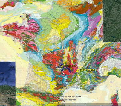 Localisation des deux gisements de diatomites lacustres exploités en France: Saint-Bauzile en Ardèche, et Foufouilloux dans le Cantal